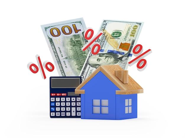 Casa com dólar e calculadora com sinais de porcentagem