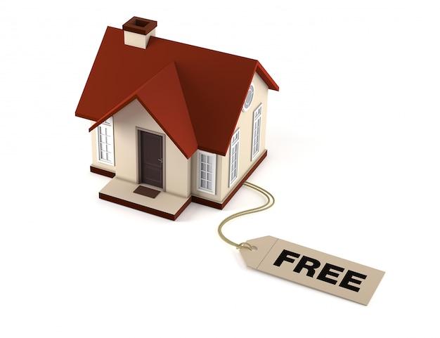 Casa com etiqueta de preço livre em fundo branco