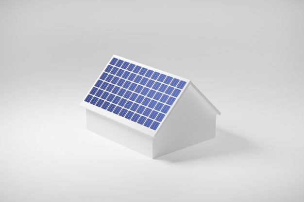 Casa com painéis solares no telhado, energia elétrica limpa da célula solar, ilustração 3d.