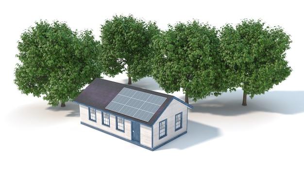 Casa com painéis solares no telhado perto das árvores, ilustração 3d
