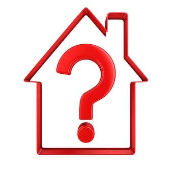 Casa com pergunta no espaço em branco. ilustração 3d isolada