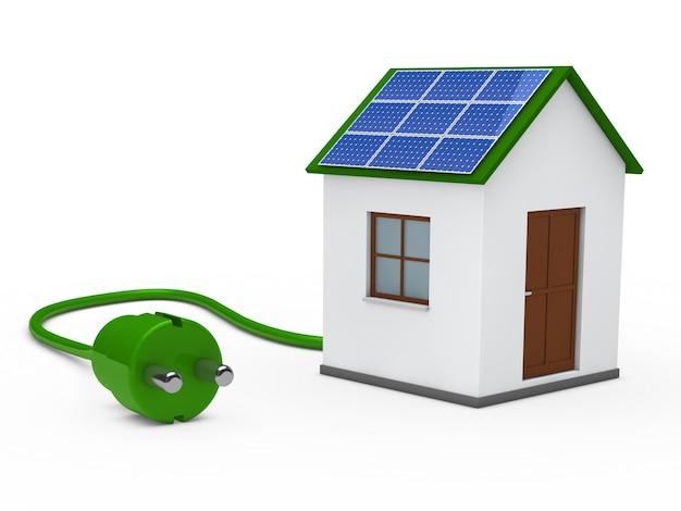 Casa com um painel solar e uma ficha verde