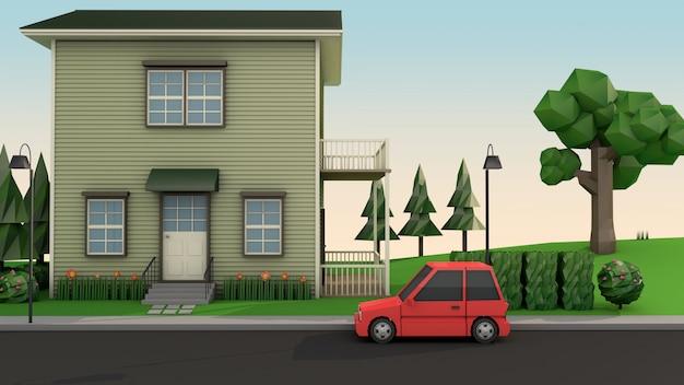 Casa de baixo poli e carro vermelho na estrada estilo cartoon