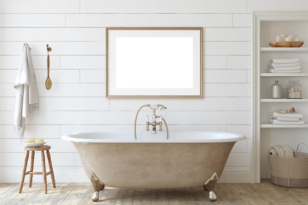 Casa de banho da quinta com parede shiplap. maquete do interior e do quadro. renderização 3d.
