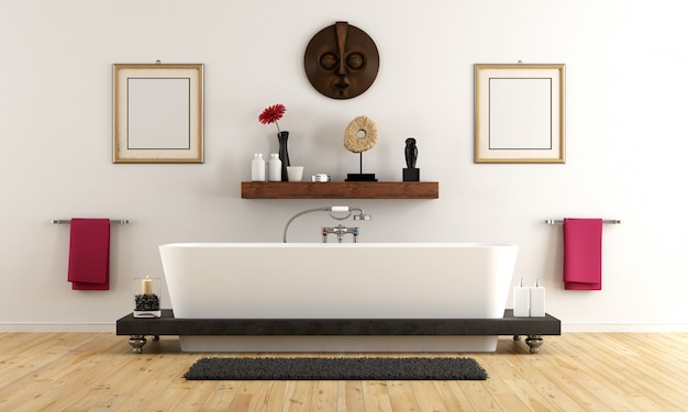 Casa de banho elegante em estilo retro com banheira