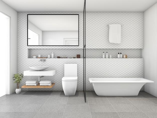 Casa de banho moderna da telha do hexágono branco da rendição 3d