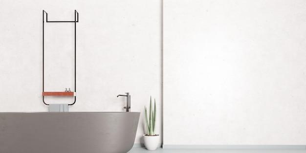 Casa de banho moderna e elegante com banheira em cinza
