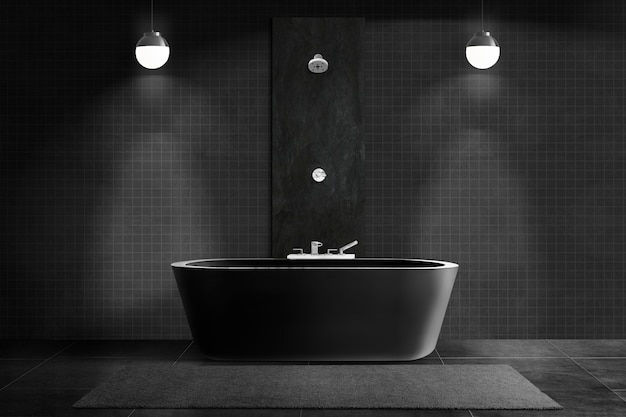 Casa de banho preta luxuosa com design interior autêntico