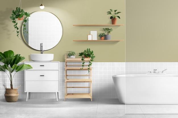 Casa de banho retro com design interior autêntico