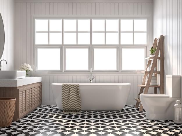 Casa de banho vintage 3d render com paredes de tábuas brancas e piso de padrão preto e branco