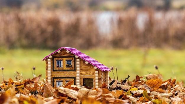 Casa de brinquedo na natureza entre folhas de outono, morando na natureza