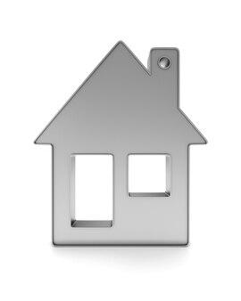 Casa de bugiganga metálica em fundo branco. ilustração 3d isolada