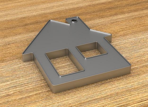 Casa de bugigangas metálica na superfície de madeira. ilustração 3d