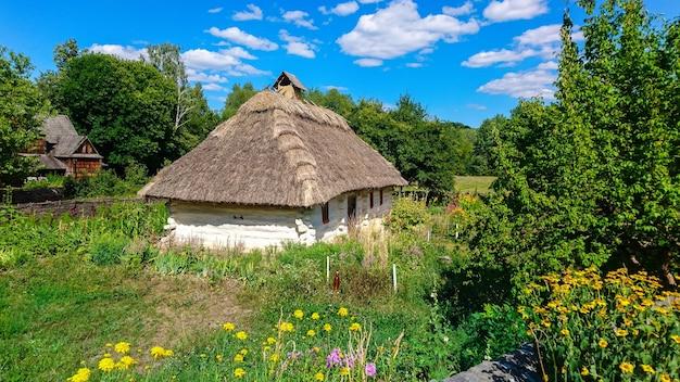 Casa de campo tradicional pitoresca com telhado de colmo no campo de verão com flores em primeiro plano.