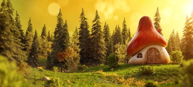 Casa de cogumelo incrível e fofa de desenho animado em um prado no meio de florestas mágicas