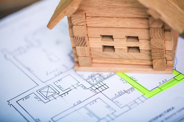 Casa de construção em plantas com plano - projeto de construção