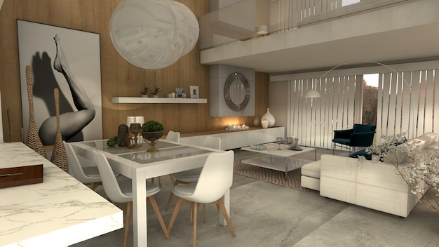 Casa de estilo moderno com ampla sala de estar com lareira. 3d rendem