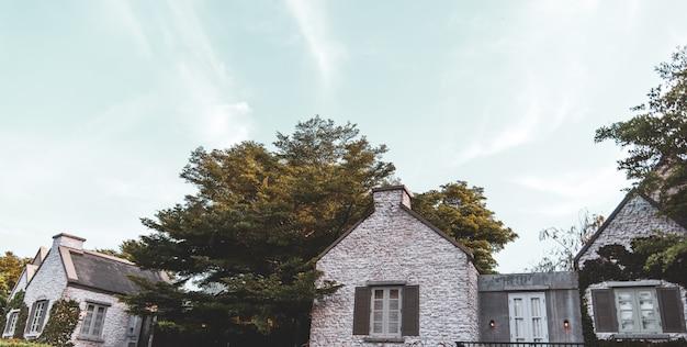 Casa de estilo vintage, cercada por árvores