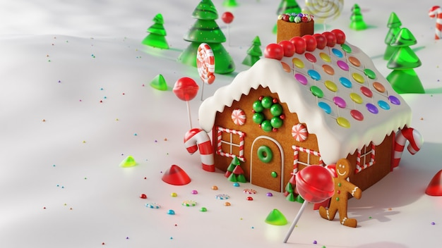 Casa de gengibre de natal na neve. renderização em 3d