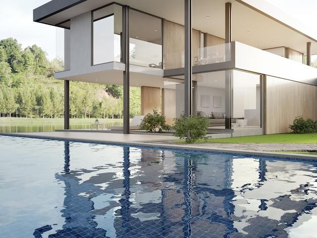Casa de luxo com vista para o lago, piscina e terraço em design moderno.