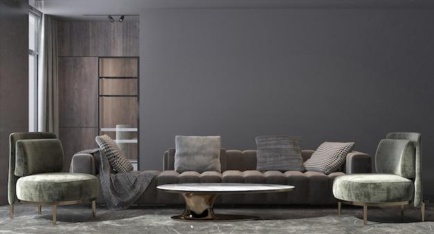 Casa de luxo moderna e design de interiores de sala de estar e fundo de textura de parede preta