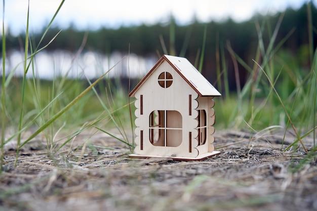 Casa de madeira em miniatura natureza ao ar livre