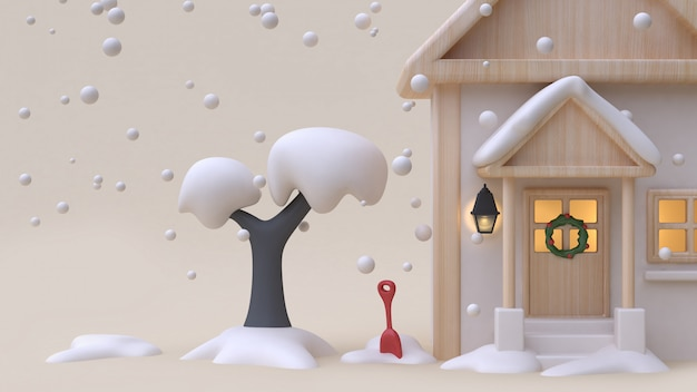 Casa de madeira neve renderização em 3d