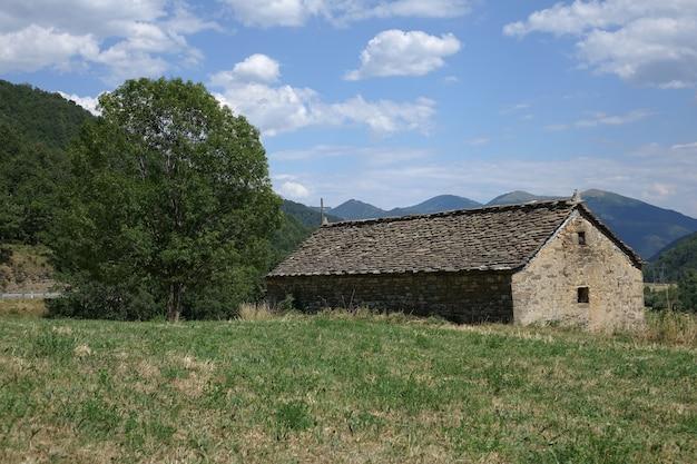 Casa de montanha tradicional ao lado de uma árvore