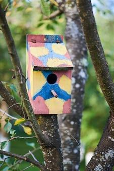 Casa de passarinho colorida em uma árvore