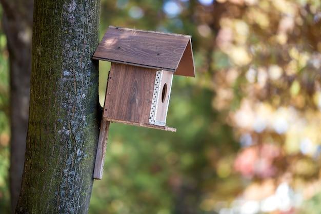 Casa de pássaro marrom de madeira ou caixa de ninho anexada ao tronco de árvore no parque de verão