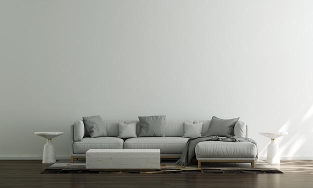 Casa, decoração e móveis de design de interiores de sala de estar e fundo de parede branco