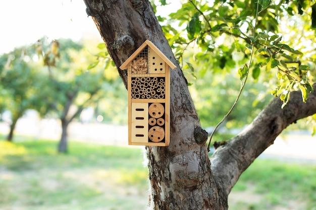 Casa decorativa de insetos de madeira em um jardim de verão