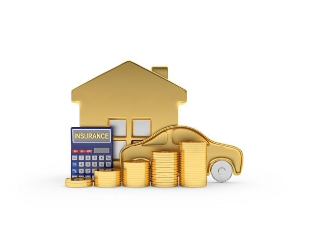 Casa dourada e carro com calculadora de seguro