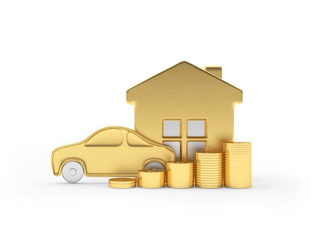 Casa dourada e ícone de carro com moedas
