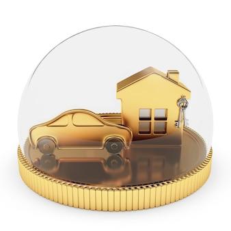 Casa dourada e ícone de carro protegido por tampa transparente
