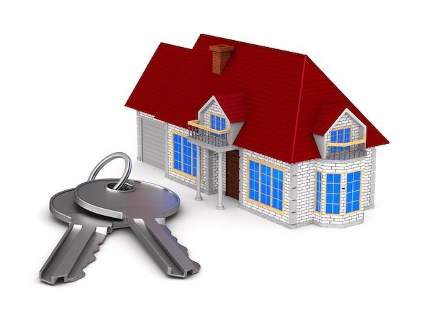 Casa e chaves na superfície branca. ilustração 3d isolada.