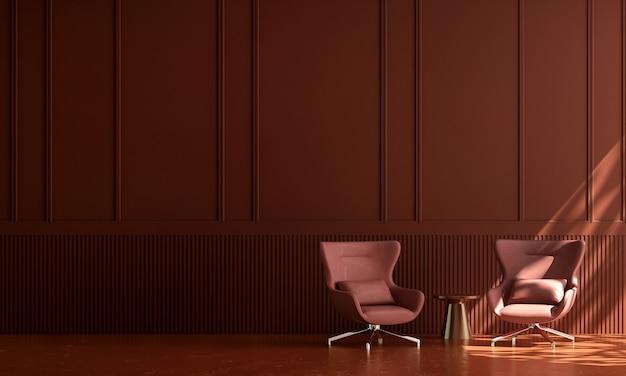 Casa e decoração e móveis com design de interiores mínimo de sala de estar e fundo de parede vermelho