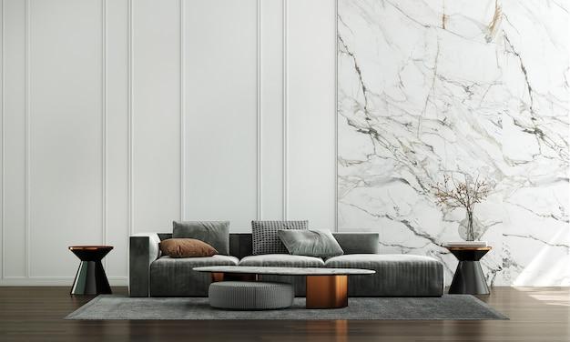 Casa e decoração e móveis de design de interiores de sala de estar aconchegante e fundo de parede branco