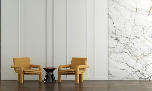 Casa e decoração e móveis de design de interiores de sala de estar branca e fundo de parede vazio