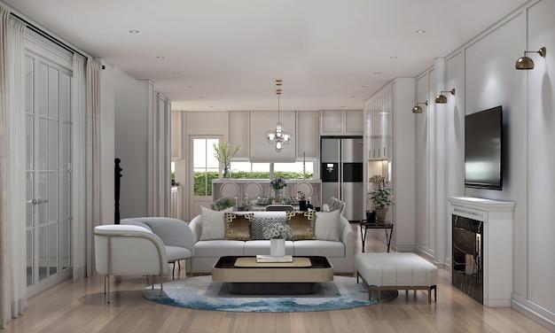 Casa e decoração e móveis de design de interiores de sala de estar de luxo e fundo de parede branco