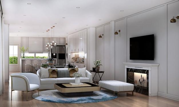 Casa e decoração e móveis de design de interiores de sala de estar e de jantar e fundo de parede branco