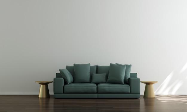 Casa e decoração e móveis de design de interiores de sala de estar e fundo de parede branco