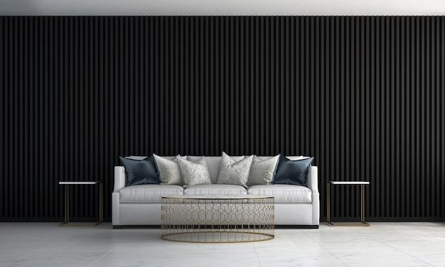 Casa e decoração e móveis de design de interiores de sala de estar e fundo de parede de azulejo preto