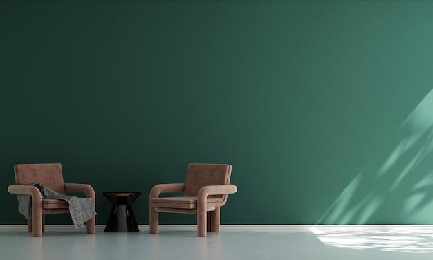 Casa e decoração e móveis de design de interiores de sala de estar e fundo de parede verde