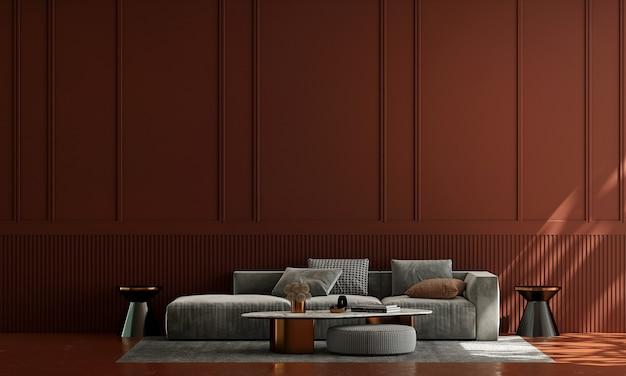 Casa e decoração e móveis de design de interiores de sala de estar e fundo de parede vermelha