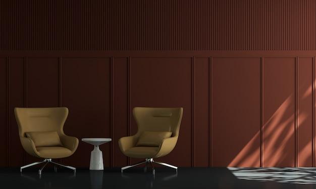 Casa e decoração e móveis de design de interiores de sala de estar e fundo de parede vermelho