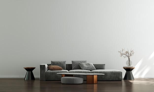 Casa e decoração e móveis de design de interiores de sala de estar moderna e fundo de parede branco