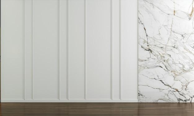 Casa e decoração e móveis de design de interiores de sala de estar vazia e fundo de parede branco