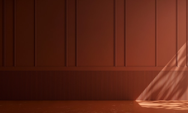 Casa e decoração e móveis de design de interiores de sala de estar vazia e fundo de parede vermelho