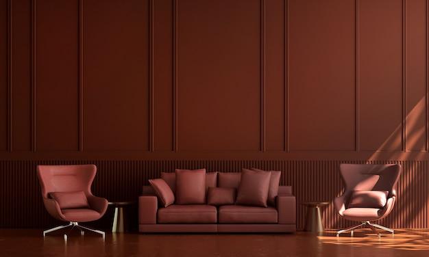 Casa e decoração e móveis de design de interiores de sala de estar vermelha e fundo de parede vazio